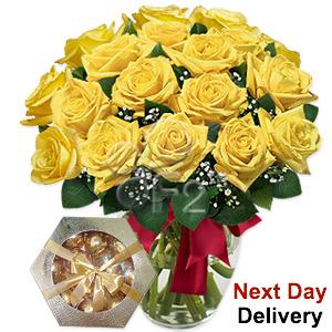 Yellowside - 18 Yellow Roses
