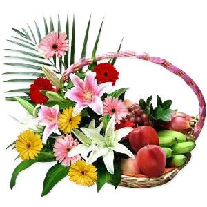 Flowers & Fruit Basket