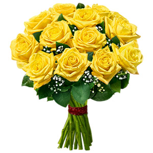 1 Dozen Yellow Roses Bouquet
