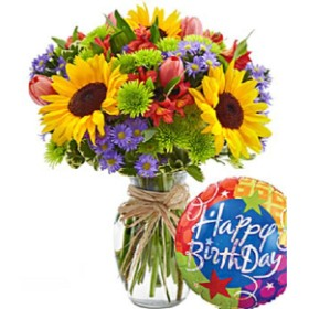 Deluxe European Garden Birthday - With Clear Vase