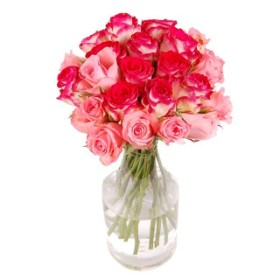 24 Pink and Two Tone Roses in vase